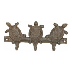 "Handcrafted Model Ships - Rustic Iron Three Turtles Key Rack 8"" - Vintage Turtle Decor - This Rustic Cast Iron Three Turtles Key Rack 8"" is the perfect addition for any nautical themed home. Handcrafted from solid cast iron, this three turtles key rack 8"" is durable, functional and decorative. Easily mountable, display this decorative key hook to show those who visit your home affinity for the nautical sea-faring lifestyle."