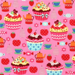 pink tartlet cupcake fruit sweets fabric Kokka from Japan - pink Japanese food fabric with colorful cupcakes, apples, strawberries, tea cups etc.
