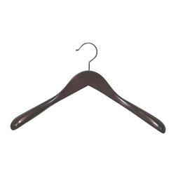 "Proman - Taurus Wide Shoulder Coat Hanger, Mahogany Finish - Taurus Wide Shoulder Coat Hanger. Mahogany finish. Suitable for heavy coat. 12 Hangers per case. 2"" thick at widest point on shoulder."