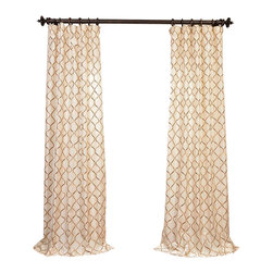 """Exclusive Fabrics & Furnishings - Tunisia Ivory Embroidered Faux Silk Curtain - SOLD PER PANEL . 51% Polyester 49% Nylon 