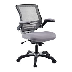 LexMod - Edge Office Chair in Gray - Welcome to a new era in functional comfort. The Edge office chair combines old time charm with cutting edge ergonomics to deliver one comprehensive seating experience.   Every feature imaginable in a chair is available as soon as you sit down. This is a chair that you can conform to behave exactly how you need it.