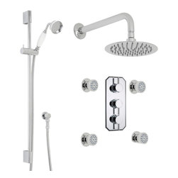 "Hudson Reed - Quest Thermostatic Shower System 3 Outlet Set With 8"" Rain Head Handset 4 Sprays - The Quest shower system from Hudson Reed is perfect for bringing any bathroom right up-to-date. Providing an amazing showering experience, this high quality shower kit comes complete with the triple thermostatic shower valve, 8"" shower head with wall arm, four body jets and the slide rail kit."