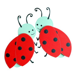 "Little Elephant Company - Whimsical Ladybug Quilt Clips set of 2 - Beautiful quilt clips that transform your treasured baby quilts and comforters into charming hanging artwork for your child's room.    Very easy to use.  ***    This listing is for a set of two (2) beautifully detailed hand painted ladybug quilt clips. Each ladybug is red and black, with a mint green head. One ladybug will face to the right, and one will face to the left.    These quilt clips are perfect for ladybug and garden themed bedding sets.    Each ladybug measures 4.5 in. x 3.75 in.    How many quilt clips do I need?  - For a quilt that is still stiff and new, you will only need 2 quilt clips for up to 36 inches wide. Many people will do 3 quilt clips just for the look, though. For a quilt that has been washed and is pliable, 2 clips will be sufficient for up to 36 inches, but you may want 3 clips to help keep the center from sagging. For a quilt 36 to 42 inches wide, use 3 to 4 clips. For a quilt 42 to 50 inches, use 4 to 5 clips.    How do the quilt clips work?  - The only hardware is needed is a long nail, approximately 1 1/2"" to 2 1/2"" in length.  - Measure how far apart you would like the clips to be.  - Decide how high on the wall they will be placed and mark your first spot. Using a level, measure out and mark the second spot.  - Place your nails into the wall at a 45 degree angle. IMPORTANT: If your nail is not at a 45 degree angle, the clip may slip off the nail.  - Clip the quilt and slide the back of the clip over the nail.    What are the clips made of?  - Designs are made of layered wood. A few of our designs also have layered felt.   - Clips on the back are a sturdy plastic so as not to damage your fabric."