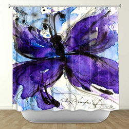 Shower Curtain HQ - Butterfly Song no. IV by Kathy Stanion Fabric Shower Curtain, Made in the USA