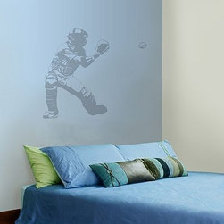 Baseball Catcher Wall Decal - Bring baseball into a boy's room or guest room with this wall decal. I like how they paired it with neutral bedding.