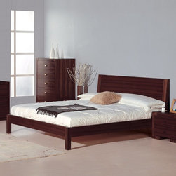 Beverly Hills Furniture Inc. - Alpha Platform Bed with Horizontally Grooved Headboard in Wenge, King - Crafted from veneer in a wenge finish this Alpha Platform Bed with Horizontally Grooved Headboard in Wenge is sure to increase not only the comfort, but luxury of your home.