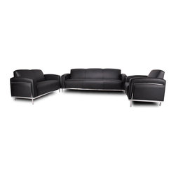 Boss Chairs - Boss Chairs Boss 3 Piece Living Room Set in Black Caressoftplus w/ Chrome Frame - Contemporary European design. Polished stainless steel frame. Upholstered with ultra soft, durable and breathable Black CaressoftPlus.
