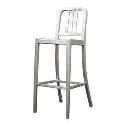 Wholesale Interiors - Modern Cafe Bar Stool in Brushed Aluminum - There is no reason to restrict contemporary furniture to the indoors -