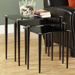 Monarch - Cappuccino / Black Tempered Glass 3Pcs Nesting Table Set - With a rectangular top wrapped in a black tempered glass making for a beautiful and contemporary look, this three piece nesting table set is the perfect unit for any decor. With a deep cappuccino finish, pin thin shaker legs, and silver accents, use these pieces as end tables, lamp tables, decorative display tables, or simply accent pieces.