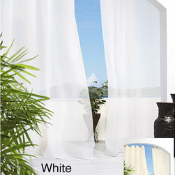 Escape - Escape Grommet Top 84 inch Indoor/Outdoor Voile Curtain Panel Pair - Update the look of your home with these sheer indoor/outdoor curtains. These Escape indoor and outdoor window coverings feature a solid-color sheer voile panel in color options of white or ivory. Each set comes with two window panels.