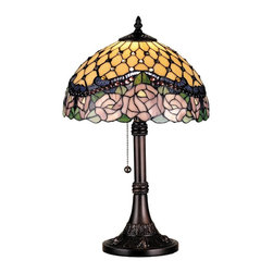 Meyda Tiffany - Meyda Tiffany Jeweled Rose Tiffany Table Lamp X-40328 - This Meyda Tiffany table lamp features a charming curvilinear column and base with intricate detailing that hints at Victorian era influencing. From the Jeweled Rose Collection, the Mahogany Bronze finish compliments the clear jewel accents, mauve pink roses, green leaves and other warm golden tones of the sky backdrop.