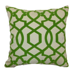 "The Pillow Collection - Maeret Moorish Tile Pillow Keylime 20"" x 20"" - Bold and interesting, this Moorish Tile throw pillow will add a contemporary flair to your home. This accent pillow features a refreshing Keylime hue perfect for the holiday season. This decor pillow is made from 100% soft cotton fabric. Decorate this square pillow on top of your favorite home furnishings for a touch of elegance. This 20"" pillow is great for formal and casual settings. Hidden zipper closure for easy cover removal.  Knife edge finish on all four sides.  Reversible pillow with the same fabric on the back side.  Spot cleaning suggested."