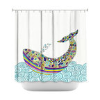 DiaNoche Designs - Shower Curtain Artistic - Whale Tune - DiaNoche Designs works with artists from around the world to bring unique, artistic products to decorate all aspects of your home.  Our designer Shower Curtains will be the talk of every guest to visit your bathroom!  Our Shower Curtains have Sewn reinforced holes for curtain rings, Shower Curtain Rings Not Included.  Dye Sublimation printing adheres the ink to the material for long life and durability. Machine Wash upon arrival for maximum softness. Made in USA.  Shower Curtain Rings Not Included.