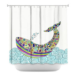 DiaNoche Designs - Shower Curtain Artistic - Whale Tune - DiaNoche Designs works with artists from around the world to bring unique, artistic products to decorate all aspects of your home.  Our designer Shower Curtains will be the talk of every guest to visit your bathroom!  Our Shower Curtains have Sewn reinforced holes for curtain rings, Shower Curtain Rings Not Included.  Dye Sublimation printing adheres the ink to the material for long life and durability. Machine Wash upon arrival for maximum softness on cold and dry low.  Printed in USA.