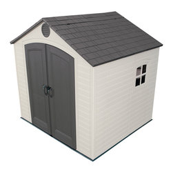 Lifetime - Lifetime Outdoor Storage Shed (8' x 7.5') - Free up space in your garage by using this versatile outdoor storage shed. It is UV-proof to resist cracks,fading,and rust. It also includes a shatterproof window and vents to allow air circulation. The shelves are adjustable for easy customization.