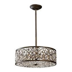 ELK Lighting - Six Light Antique Bronze Drum Shade Pendant - Six Light Antique Bronze Drum Shade Pendant
