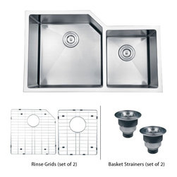 """TCS Home Supplies - 33 Inch Stainless Steel Undermount Offset Double Bowl Kitchen Sink & Accessories - Gravena Premium 16 Gauge Stainless Steel Kitchen Sink. Undermount Installation. 15mm Radius Design. Offset Double 60/40 Bowls. Brushed Stainless Steel Finish. Included Matching Stainless Steel Bottom Grid Set & Two Deluxe Lift-out Basket Strainer. Dimensions 33"""" x 20"""" x 10"""""""