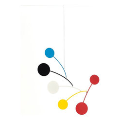 Ekko Workshop - Circle Series  Mobile  Blue/Black/White/Yellow/Red - Hanging mobiles aren't just for babies and nurseries. Channel your inner Calder with a modern take on the artistic mobile. Pick from three bold color palettes and infuse your room with whimsy and charm.