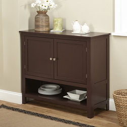 Simple Living - Simple Living Montego Espresso Wooden Buffet - This buffet from Montego will enhance your kitchen or dining area. This buffet features two doors with an adjustable shelf cabinet and open shelf under the cabinet for ease of use.