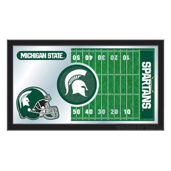 "Holland Bar Stool - Holland Bar Stool Michigan State Football Mirror - Michigan State Football Mirror belongs to College Collection by Holland Bar Stool The perfect way to show your school pride, our Football Mirror displays your school's symbols with a style that fits any setting.  With it's simple but elegant design, colors burst through the 1/8"" thick glass and are highlighted by the mirrored accents.  Framed with a black, 1 1/4 wrapped wood frame with saw tooth hangers, this 15""(H) x 26""(W) mirror is ideal for your office, garage, or any room of the house.  Whether purchasing as a gift for a recent grad, sports superfan, or for yourself, you can take satisfaction knowing you're buying a mirror that is proudly Made in the USA by Holland Bar Stool Company, Holland, MI.   Mirror (1)"