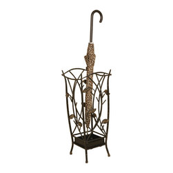 Welcome Home Accents - Vine Umbrella Stand - This Umbrella stand in oiled rubbed bronze finish metal lets you brings a touch of the outdoors in. Cut out metal leaf decor features beautiful leaves with tan accents placed randomly throughout.   Perfect for storing your wet umbrellas by the door until they dry.   Wipe with a dry cloth.