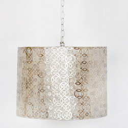 """Worlds Away - Worlds Away Shawn Capiz Shell Drum Pendant - The Shawn pendant combines a pattern of modern geometrics with the stunning pearlescent glow of nature's capiz shell for a sophisticated approach to lighting a room. The interior of the classic drum shade has a triple candle cluster socket. Accepts 40 watt candelabra bulbs.  20""""W x 20""""D x 14.5""""H"""