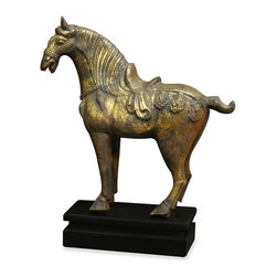 China Furniture and Arts - Hand Forged Iron Horse - During the Tang Dynasty (618-907 AD), horse riding was seen as a privilege of the nobility, an edict of 667 prohibited lower ranking citizens from riding. Hand forged in stunning iron, this horse reminisces the great cultural significance that these animals occupied throughout history. Matching stand included.