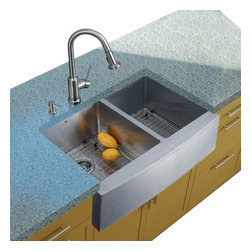 Vigo Industries - Platinum Farmhouse Stainless Steel Kitchen Sink Set with Grids - Includes stainless steel kitchen sink, stainless steel kitchen faucet, two matching grids, two strainers and stainless steel soap dispenser and all mounting hardware