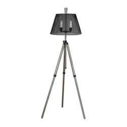 Uttermost - Armada Tripod Floor Lamp - Lights, camera, action! You'll think you're on a Hollywood set with this adjustable tripod floor lamp. The clean lines and startling metal shade with tubular bulbs cry out for an encore.