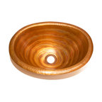 "Artesano Copper Sinks - Small Oval Bathroom Copper Sink with Rolled Rim - Small Oval Bathroom Sink with Rolled Rim 16 x 12 x 6 for Drop In installation, 1"" rim, all hand made, all copper, all hammered"