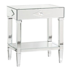 Bungalow 5 Josephine 1-Drawer Side Table - Mirror: Beveled Glass: Crystal Ball Pull. Our mirrored pieces are hand finished—this includes the beveling, the cutting of the pieces, and the fine grinding of the glass. Therefore they will occasionally will have such things as small dimples, slight discolorations, and other minor variations which are hallmarks of the craftsmen's' hands.