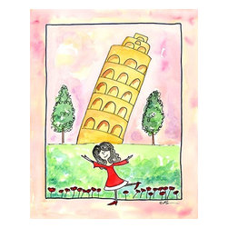 """Oh How Cute Kids by Serena Bowman - Girl in Italy, Ready To Hang Canvas Kid's Wall Decor, 16 X 20 - """"Ciao!""""  I love to travel. LOVE LOVE LOVE to TRAVEL. I love everything about it - new food, new streets, new people - I think it is best to way to experience life. This is part of my Travel Girl series that started out as a shout out to all the places I have been!  I hope you enjoy my art as much as I enjoyed making it."""