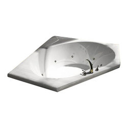 Spa World Corp - Atlantis Tubs 6060V Venus 60x60x23 Inch Rectangular Soaking Bathtub - The Vogues chic design offers a fashionable yet traditional tub that comes in several sizes. The Vogue is oval on the interior and encompassed by a wide rectangular shape which provides more space for your favorite bathing fragrances and accessories. On one end, the tub rises up and back for added comfort when laying back, The Vogue will be the interior design centerpiece of your home.