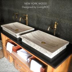 MARBLE VESSEL SINK BROWN & BEIGE BATHROOM SINK + DROP-IN NEW YORK WOOD - Reference: BB510EWGG-US