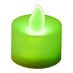 LumaBase Luminarias - Battery Operated Tea Light Candles- 12 Count Green - These bright battery operated tea light candles illuminate without the danger of a real flame. It is a safe and easy alternative to traditional candle light. Use in any candle holder or stand alone for special events, parties or any occasion.