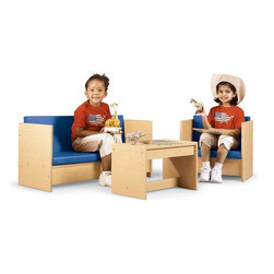 Young Time - Young Time Living Room Set - Toys not included. Includes couch, chair and table. Well-suited in both dramatic play and literacy settings. Durable laminate surface. Rounded corners. Thermo-fused edgebanding. Safety tested product. GREENGUARD Children and Schools SM indoor air quality Certified. CPSIA and CARB compliant. Warranty: 1 year. Made in USA. Assembly required. 0 in. W x 0 in. D x 0 in. H (59 lbs.)Young Time is for budget-minded buyers seeking to get the most for their classroom furniture dollar. Young Time offers affordable, American-made early learning furniture designed with a focus on the functionality you need most!