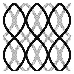 Brewster Home Fashions - Contour Black Geometric Lattice Wallpaper Bolt - With stylish poise and contemporary elegance this curvaceous geometric wall covering adds a burst of modern flavor to walls in a black and grey lattice design.