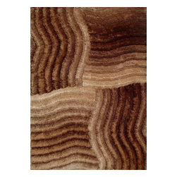 Rug - ~5 ft. x 7 ft. 3-D Gold Brown Shaggy Living Room Hand-tufted Area Rug - 3D SHAG COLLECTION
