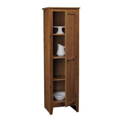 Ameriwood - Rustic Look Pantry Cabinet in Pine Finish - Pantry cabinet is the perfect complement to any rustic designed kitchen. Not only is it attractive and affordable, it's also spacious with four shelves behind the single door with pewter tone knob. Two shelves are adjustable to customize the space. Pine finish. Has 3 shelves (2 adjustable). Decorative Pewter knob. Particleboard construction. Manufactured in USA. Minimal assembly required. 1-Year limited warranty. 15.69 in. L x 18.19 in. W x 60.25 in. H (67 lbs.)