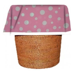 "Designerliners - Pink Polka Dot Waste Basket Bags  Decorative - Reusable - Biodegradable -12 Pack - Designerliners decorative waste basket bags enhance any room in your home that has a waste basket. Designerliners come packed ""inside out"" such that when placed inside a waste basket, the design shows on the inside of the container and then flows over the outer lip to form a beautiful outer border. Designerliners are made in the USA from strong 1 mil thick biodegradable plastic. Pink Polka Dot Designerliners measure 17.75 x 19 inches. Available in 12-packs and economy 100-packs."