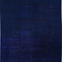 """ALRUG - Handmade Dark Blue Persian Antique Overdyed Rug 9' 11"""" x 13' (ft) - This Persian Overdyed design rug is hand-knotted with Wool on Cotton."""