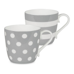 Konitz - Colors Set of 2 Mugs Grey Dots and Stripes - If you're two for tea — or coffee, of course — serve it up in these bone china beauties. The pair of mugs is delicately curved and simply patterned for the ultimate in everyday luxury.