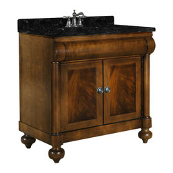 Kaco International Inc. - Kaco John Adams Vanity - This John Adams Vanity features American Parlor styling with crotch mahogany veneers and select hardwoods. Coordinating Granite vanity tops are available in four colors for this exquisite line of vanities. The John Adams Collection has a Sherwin Williams multi-step finish of brown cherry utilizing water resistant technology. The vanity is complimented with an optional matching mirror which embellishes the same features and style as the cabinet. This attractive vanity would be the centerpiece in any sophisticated bath. Vanity with Green granite top and white undermount sink included, optional mirrors are available.