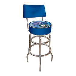 Trademark Global - United States Navy Padded Bar Stool w Back - Chrome plated double rung base. Adjustable levelers. Commercial grade vinyl seat. Long lasting high gloss logo. Backrest for added comfort. Great for bar pub table and bars. Padded seat: 14.75 in. Dia. x 7.5 in. H. 30 in. H bar stool. Overall dimensions: 40 in. L x 15 in. W x 15 in. H (24 lbs.)This United States Navy Bar Stool with Backrest will be the highlight of your bar and game room. Great for gifts and recreation decor.