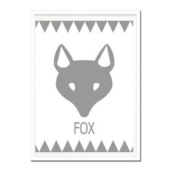 Kshoo Design - Tribal Fox Print, Frame Not Included, Gray, 16x20 - - Art print  digitally created