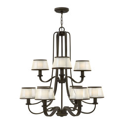 Hinkley Lighting - Prescott 9-Light Ch Chandelier - The Prescott collection offers a unique modern/vintage feel with a traditional frame, knob detail and wide tubing. A wide, low-profile organza shade surrounds the etched opal inside glass, infusing transitional design elements to create the perfect balance between classic and contemporary.