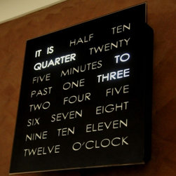 Black Clock - This clock is a great conversation piece. I like words more than numbers, so this certainly is a fun option when it comes to telling time.
