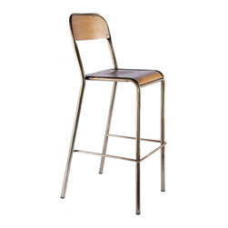 Industry West - Freshman Bar Stool with a Wood Seat - Modeled after an antique Schoolhouse chair from the early 20th century, The Freshman Bar Stool from our Schoolhouse Collection is perfect match for any space where you want to pull up a seat (and have a drink). Its clean lines and slim, airy profile are beautifully rendered in grade A steel and hand-finished to showcase hand-welded seams and the wood seat makes it extra luxe. Each piece is individually finished for a complete original, every time.
