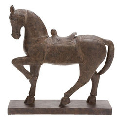 "Benzara - Polystone Horse Decor - If you are looking for low cost but rare to find elsewhere decor item to bring extra galore that could refresh the decor appeal of short spaces on tables or shelves, beautifully carved 44681 Polystone HORSE DECOR may be a good choice.; Material: Polystone; Color: Antique brown; Unique table and garden decor with wild life blend; Coordinating; Affordable option for customized gift; Dimensions: 20""H x 20""W"