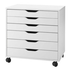 Alex Drawer Unit on Casters - A clean and simple storage solution, with wheels for easy transport. I can easily see this tucking under a desk to optimize a workspace. Would be perfect for tucking away office supplies and papers.